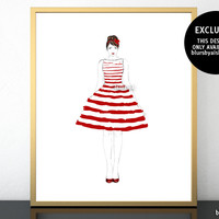 "Printable fashion illustration of a red and white stripped summer dress, 8x10"" & 16x20"""