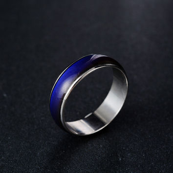 FUNIQUE Creative Color Changeable Ring Temperature Emotion Feeling Mood Rings for Women Men Jewelry Fashion Jewelry 6mm wide