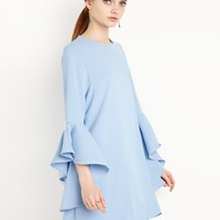 Blue Bell Sleeve Dress - Ruffled Sleeve Mini Dress
