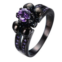 SNAZZY Amethyst Black Metal Skull Ring  -- FREE Shipping