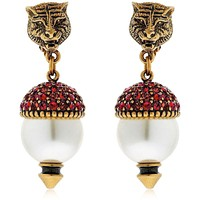 Gucci Fashion Women Tiger Head Pearl Earring