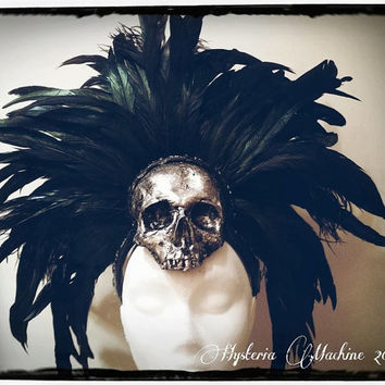 Silver Skull and Feather Headdress Ready Made