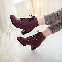 [USD $ 39.99] Women's Shoes Round Toe Chunky Heel Ankle Boots More Colors available