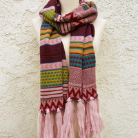 Knitted Navajo Fringe Scarf