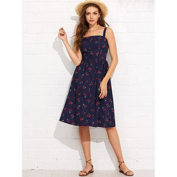 Navy Button Up Cherry Print Strap Dress