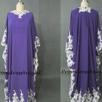 Applique Purple Muslim Dress/ Purple Mother of The Bride Dress ,Long Sleeves Prom Dreess, Formal Dress/ Groom Mother Dress