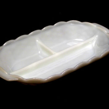 Milk Glass, Divided, Basket Weave, White, Relish, Dish, Olive, Tray, Mid Century, Retro, Serving, Wedding, Scalloped, Edges, Bathroom, Gift