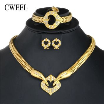 CWEEL Indian Dubai Jewelry Sets African Beads Jewelry Set For Women Wedding Bridal Jewelry Sets Imitation Crystal Jewellery Set