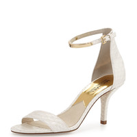 Kristen Mid-Heel Snake-Embossed Sandal, Optic White - MICHAEL Michael Kors