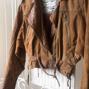 1980's Vintage brown / Camel suede leather Ramones Jacket / Motorcycle jacket // Dolman sleeve // Size small
