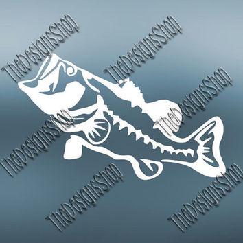 Bass Fishing File Svg Dxf SCAL Studio PDF Jpg | Country Fishing File | Country Girl File | Car File | Truck File | Bass Monogram File | 258