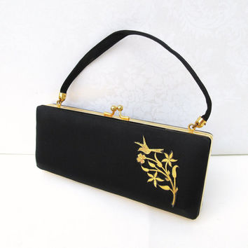 Hollywood Regency Black Satin Compact Purse, Cigarette Purse / Evening Bag Clutch, Gold Bird Medallion / Necessaire Handbag