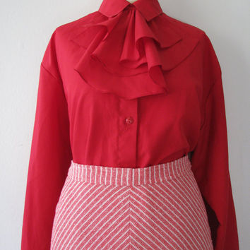 70s Bright Red Secretary Blouse w/ Ruffled Collar, XL // Vintage Shirt