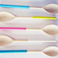 1 ahoj-2012 spoon...Cook dip dye Ombre, kitchen, cooking utensil, utensil, pastel, wooden spoon, kitchen accessory,