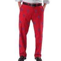 Ole Miss Logo Stadium Pants in Red by Pennington & Bailes