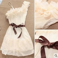 Summer flowers one shoulder pleated chiffon dress