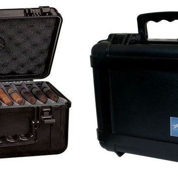 Xikar SLEEK Modern Black Case Cigar Travel Humidor Holds 50 -80 Cigars
