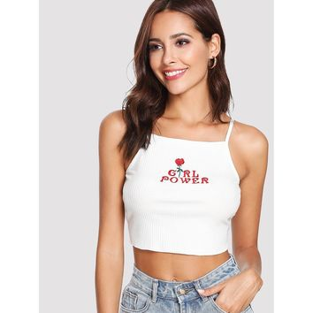 Rib Knit Embroidered Crop Cami Top
