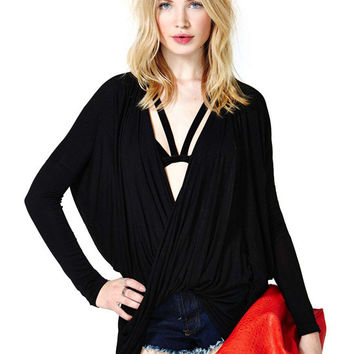 Deep V-Neck Ruched Long Sleeve Top