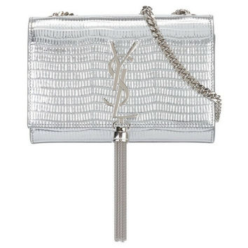 SAINT LAURENT  Silver Calf Leather Small 'Kate'  Monogram Shoulder bag