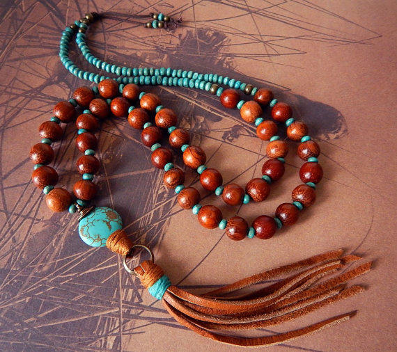 Leather Tassel Necklace Turquoise Stone From Prayerfeather On