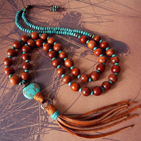 Leather Tassel Necklace Turquoise Stone Natural Wood Bead Necklace Tassel Pendant Rustic Earthy Bohemian Necklace Long Layering Necklace