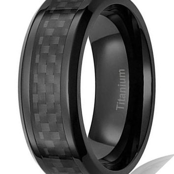 8MM Mens Titanium Ring Wedding Band Black Plated with Black Carbon Fiber Inlay