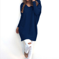 Stylish V-neck Long Sleeve Sweater [9307401796]