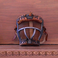 1940s Vintage Catchers Mask, Leather And Cast Aluminum Baseball Catchers Mask, Baseball Decor, Baseball Memorabilia