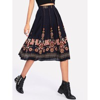 Multicolor Floral Print Knee Length Skirt