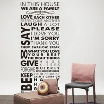 Removable Words House Rule Solid Color Wall Sticker For Home