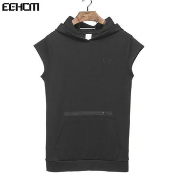 Mens Zip Pocket Sleeveless Hoodies Bodybuilding Cotton Sleeveless Top Solid Stringer Hoodie Tank Top Summer hooded Shirts Cotton