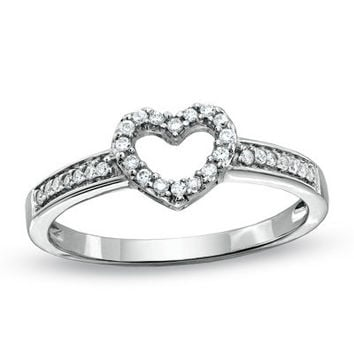 1/10 CT. T.W. Diamond Heart Promise Ring in 10K White Gold - View All Rings - Zales