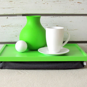 Laptop Lap Desk or Breakfast serving Tray - Lime green with Grey Linen Pillow