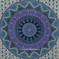 Small Blue Psychedelic Bohemian Mandala Throw Tapestry Wall Hanging on RoyalFurnish.com