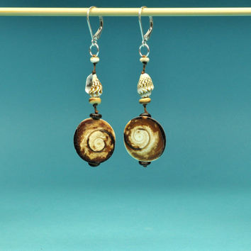 Cat's Eye and Shell Earrings