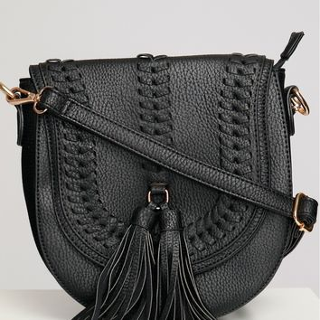 Woven Tassel Shoulder Bag Black