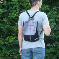 SALE 20% Black Backpack Mini canvas UNISEX 2in1 rucksack screen print gray plaid Festival Backpack Cross body bag 2015 new design