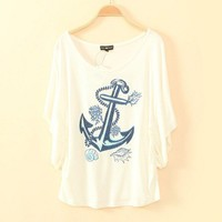 Paillette Anchor Print Batwing Sleeve T-shirt