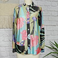 Vintage 1970s Abstract + Tropical Floral Blouse