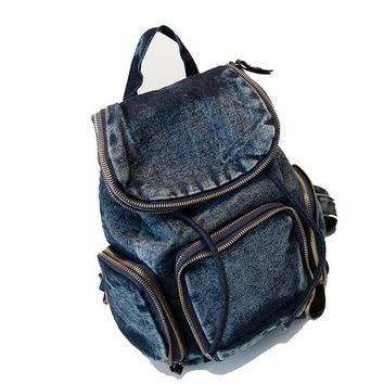 Vintage 2 Color Cowboy Bag Casual School Wind Backpack for Women and Men Oxford Cover Shoulder Bag = 1714507524