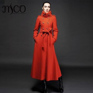 2017 Winter New Arrive High Quality Women Turtleneck Cashmere Wool Warm Trench Noble Sashes Slim Long Maxi Coat Female Jacket