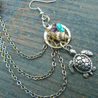 ONE sea turtle dreamcatcher chained  ear cuff sea turtle seashells cuff in beach mermaid boho gypsy hippie hipster beach and fantasy style