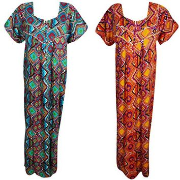 Mogul Interior Lot Of 2 Skye Womens Nightgown Caftan Printed Cotton Beach Wear Summer Kaftan Maxi Dress XL