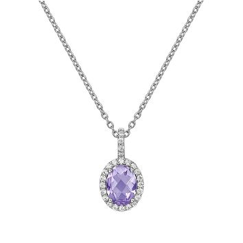 Lafonn Aria Sterling Silver Platinum Plated Lassire Amethyst Necklace with Lassaire Simulated Diamonds