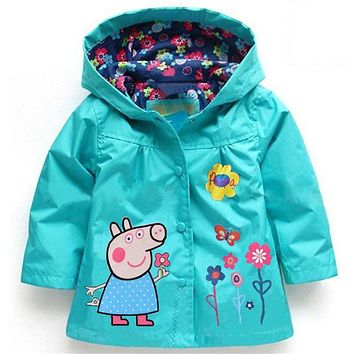 Spring Autumn Fashion Baby Girls Hoodies, Toddler Girls Jackets, Cartoon Kids Outerwear, Waterproof Children's Coat Raincoat