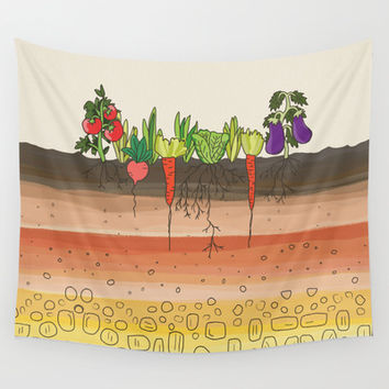 Earth soil layers vegetables garden cute educational illustration kitchen decor print Wall Tapestry by Bad English Cat