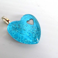 Blue Heart in Heart Pendant Sparkly blue glass and paper pendant Valentines day heart Heart in Heart