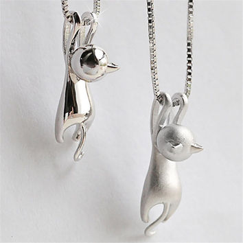 Cute Fashion Sweet Kitty Pendant animal collares Without Chain Silver Plated Necklace Tiny Cat Pendants Odd Fancy Jewelry