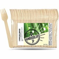 """BAMBOODLERS Disposable Wooden Cutlery Set   100% All-Natural, Eco-Friendly, Biodegradable, and Compostable - Because Earth is Awesome! Pack of 200-6.5"""" Utensils (100 Forks, 50 Spoons, 50 Knives)"""